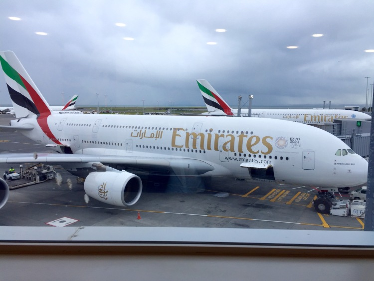 Three Emirates A380s in AKL
